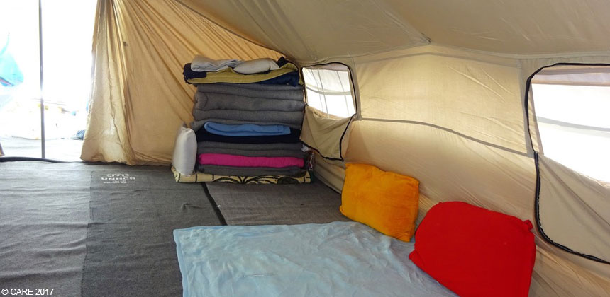 Inside a tent at a refugee camp
