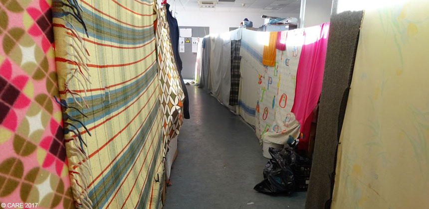 Inside a refugee camp sleeping area