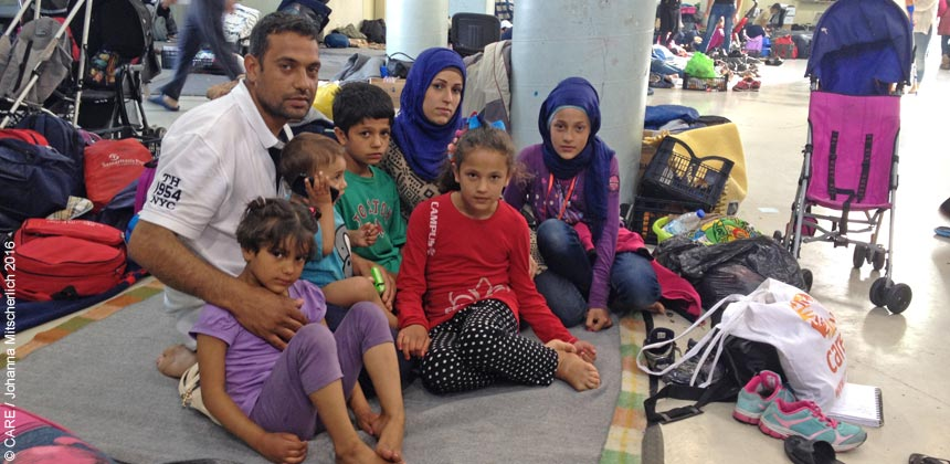 A familiy in the waiting hall at Piraeus port