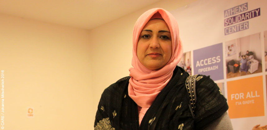 Tahani, a Syrian refugee, in the refugee support centre