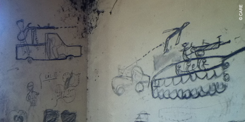 Graffiti in the clinic in Guit