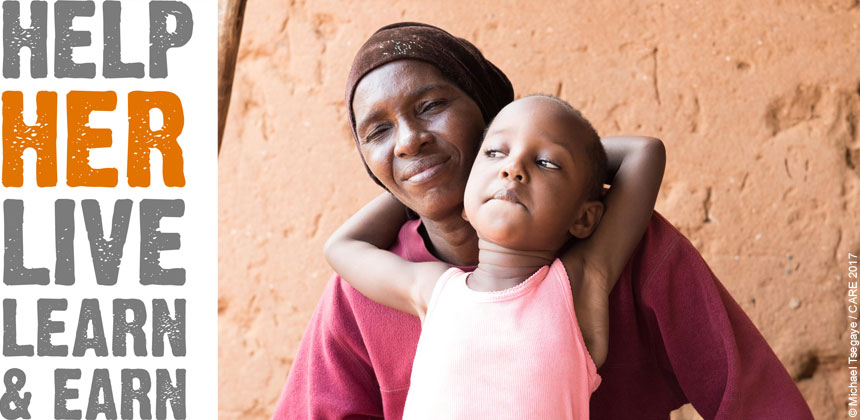 Rehema and child with Help Her Live Learn Earn logo