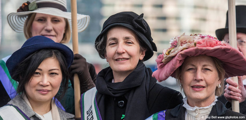 Helen Pankhurst and other women's day marchers
