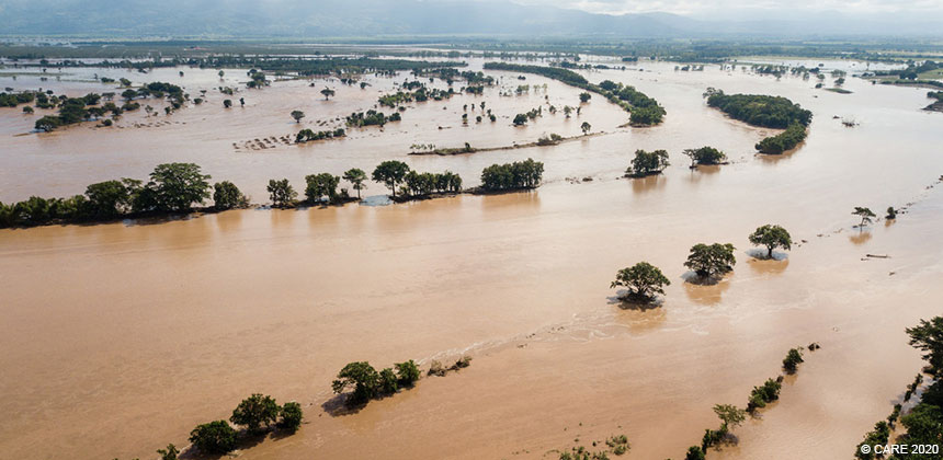 Aerial photo of flooded valley in Honduras