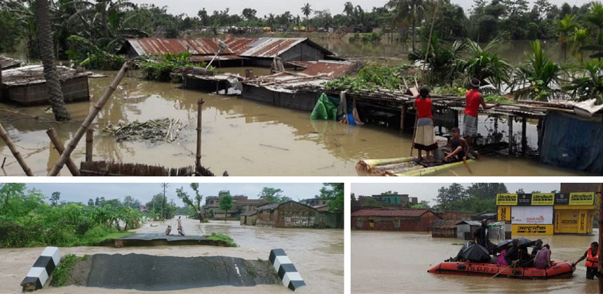Composite of 3 images of flooding in India