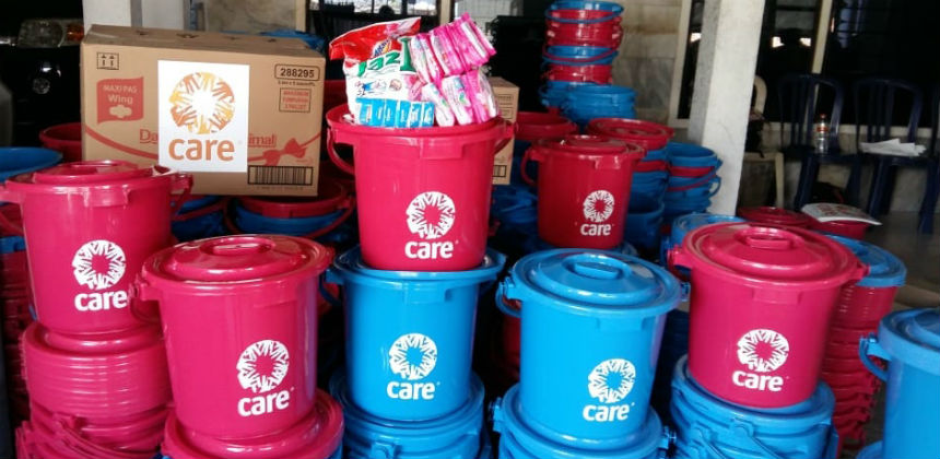 Plastic buckets for hygiene kits in a warehouse in Indonesia