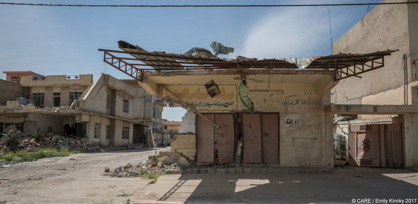 Damaged buildings in Bashiqa, Iraq
