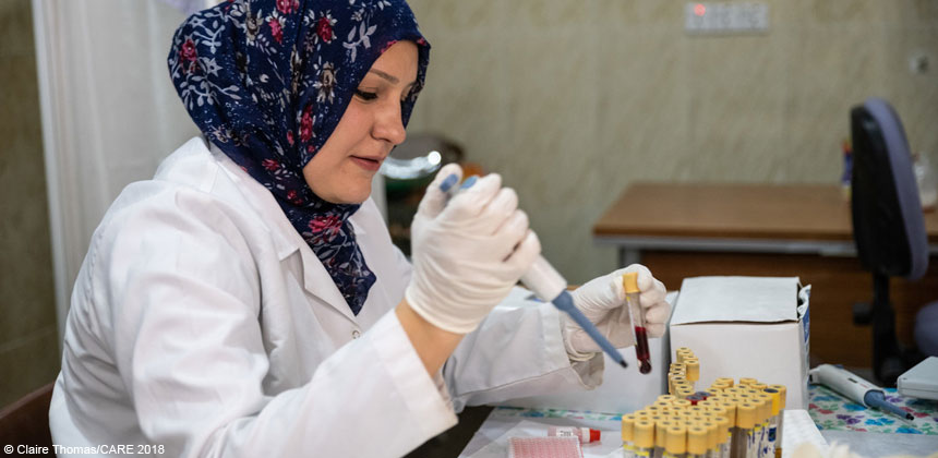 Anonar, a hospital lab technician in Mosul, Iraq