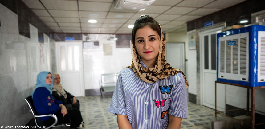 Shiraz, a young woman, pictured at a health centre in Iraq
