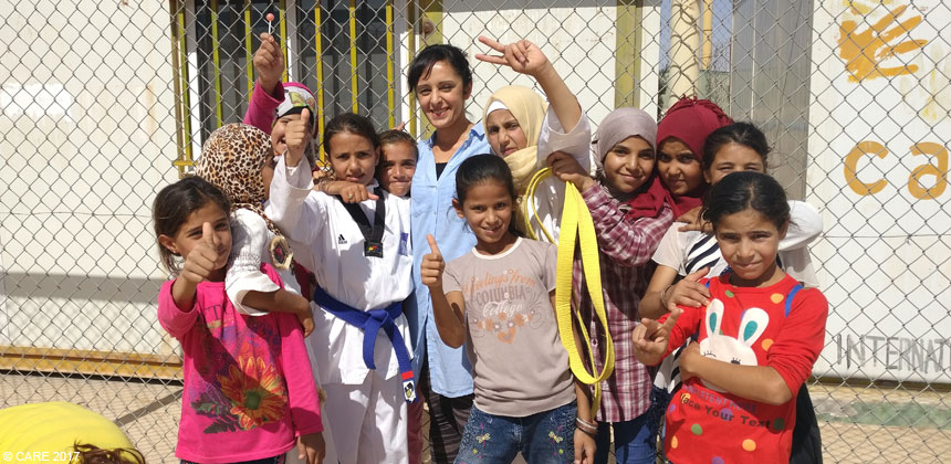 Group of girls at Azraq camp