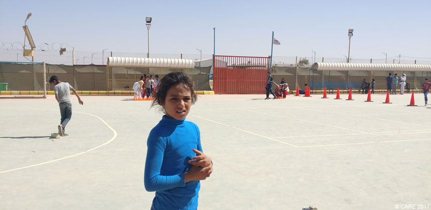 A girl at the sportsground at Azraq camp