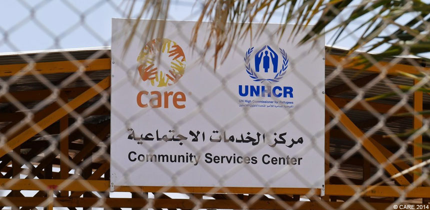 Sign for CARE-UNHCR community centre