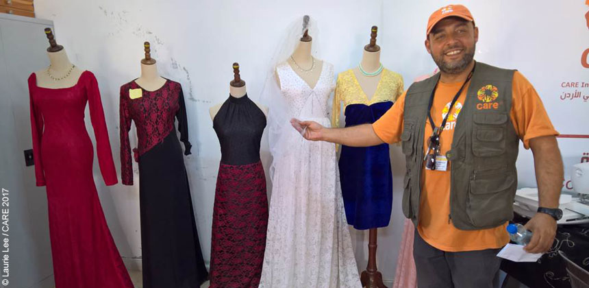Clothes made by women at Azraq camp