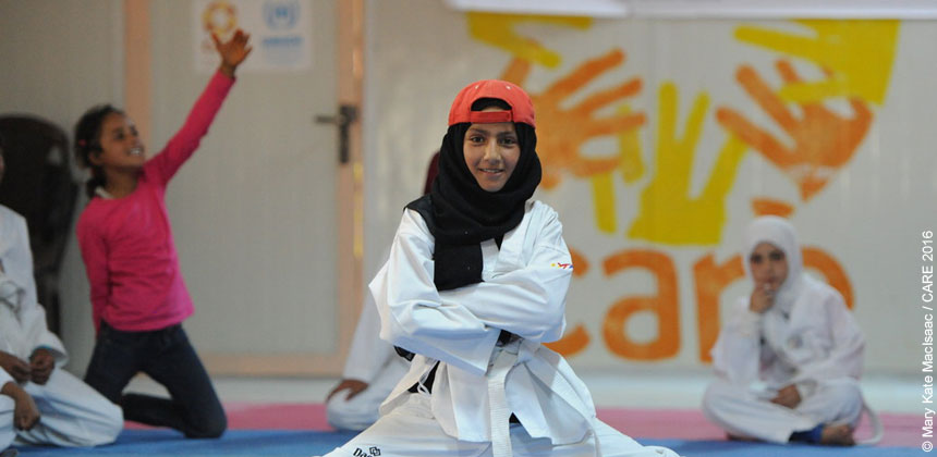 A young girl training in Taekwondo at Azraq camp