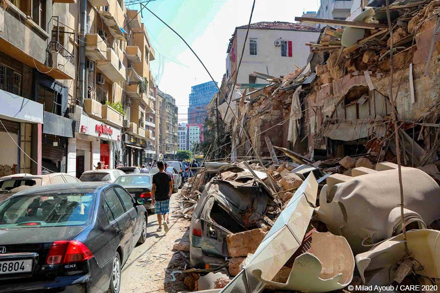 Building damaged by the Beirut explosion