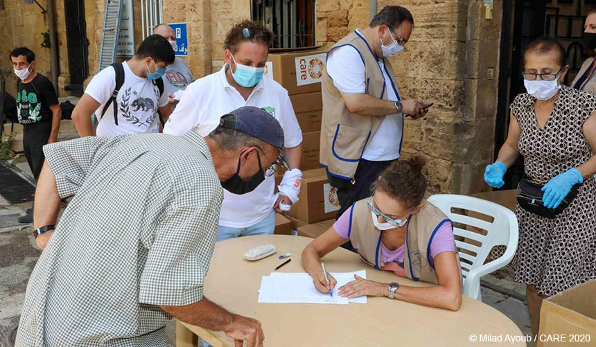CARE emergency distribution in street in Beirut