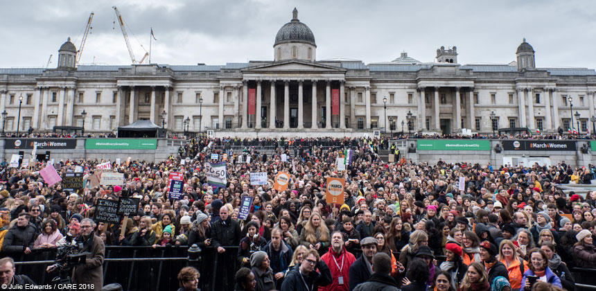 Crowd at #March4Women at Trafalgar Square