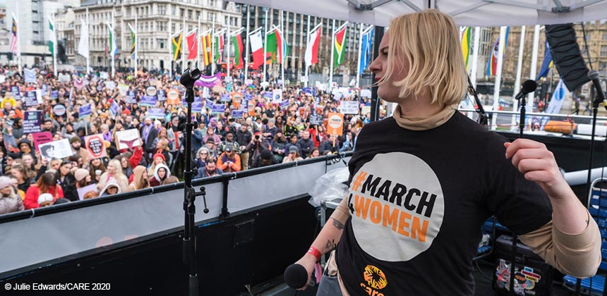 Lapsley performing at #March4Women 2020
