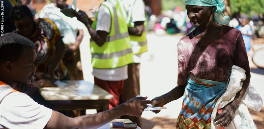 Esther Peter at a food distribution in Malawi