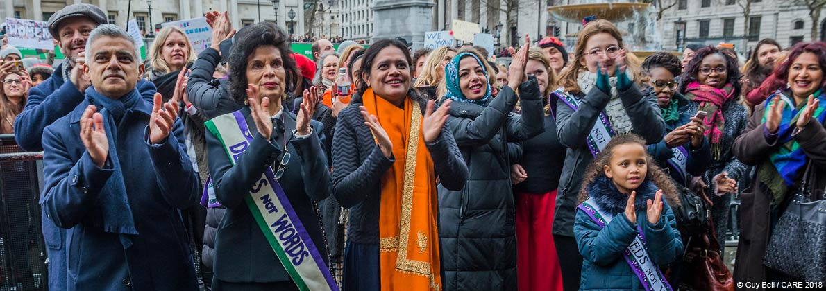 Nazma Akter with Sadiq Khan and Bianca Jagger and others at #March4Women 2018