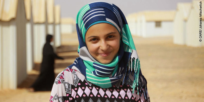 Muzoon, 15, campaigns against child marriage in Azraq camp