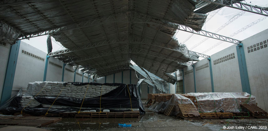Damaged warehouse in Beira, Mozambique