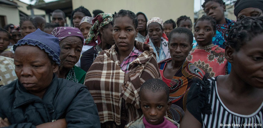 Group of people after cyclone in Mozambique