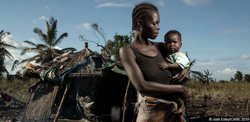 Woman and child after Cyclone Idai in Mozambique