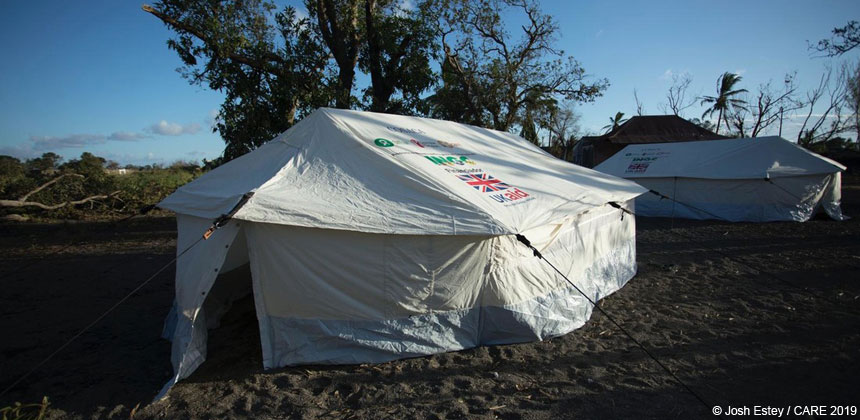 Tents with UK aid logo, Mozambique