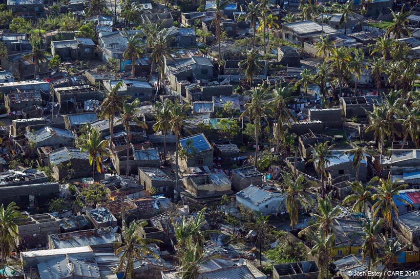 Cyclone damaged buildings, Mozambique