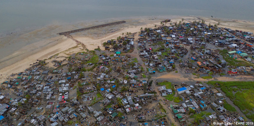 Drone footage of coastal village affected by cyclone