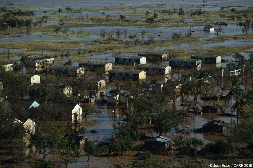 Houses surrounded by flood water, Mozambique