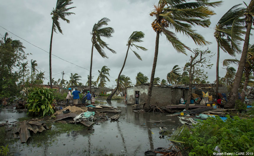 Flooded and damaged buildings following Cyclone Idai