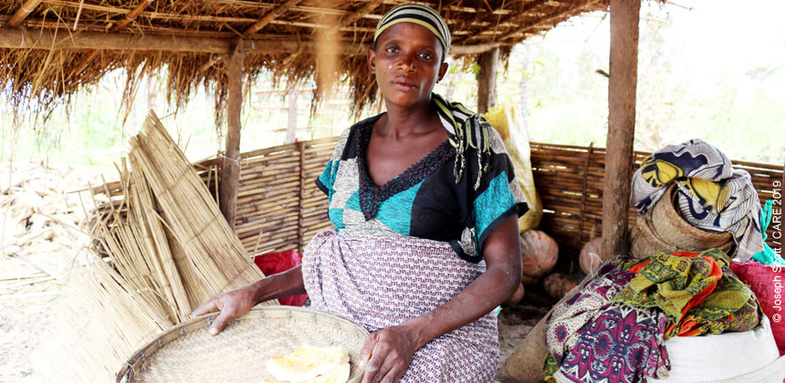 Nhamu inside her home after Cyclone Kenneth