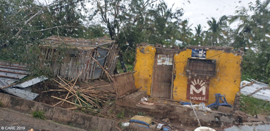 Roadside shacks in Mozambique damaged by cyclone