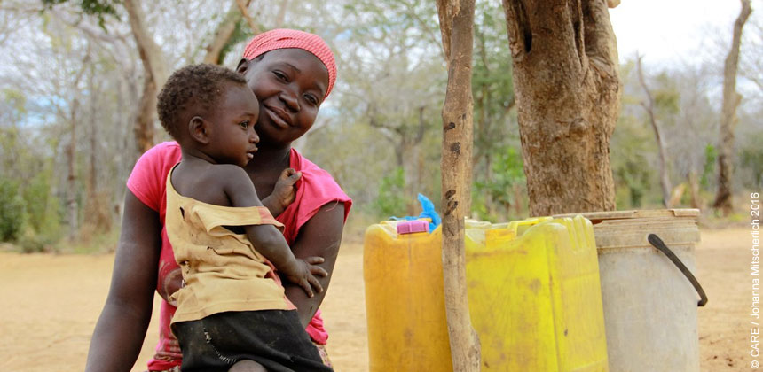 Rosina and one of her children in Mozambique