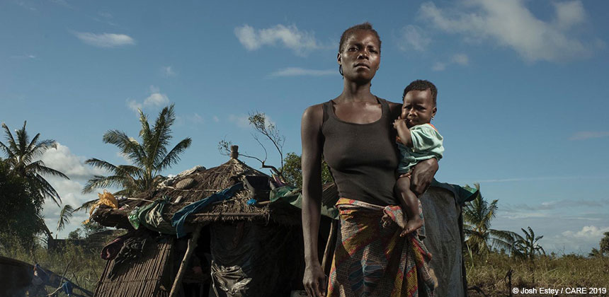 Lucia and her daughter after Cyclone Idai in Mozambique