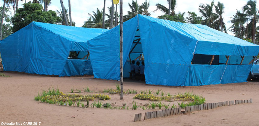 Temporary classrooms in Mozambique