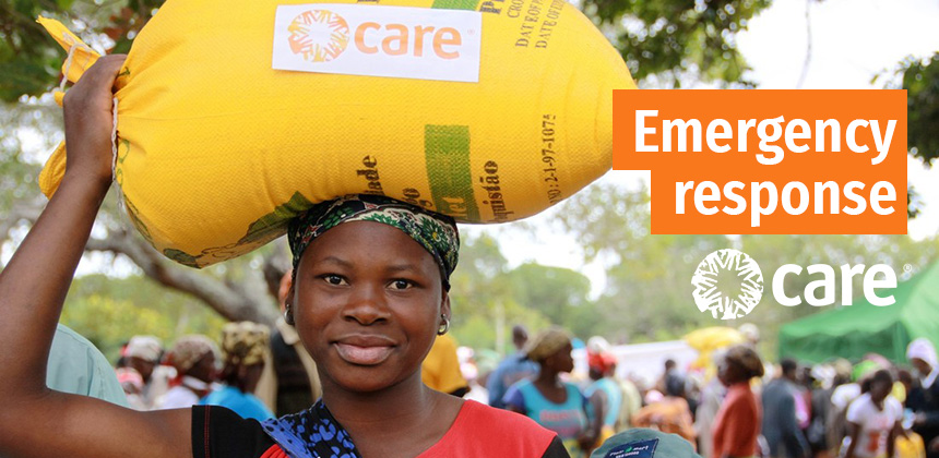 A woman in Mozambique at a CARE emergency response distribution