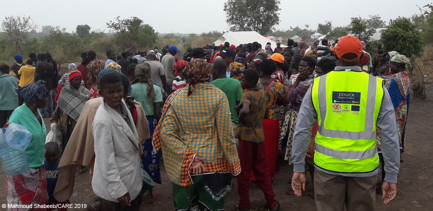 People waiting for an aid distribution in Mozambique