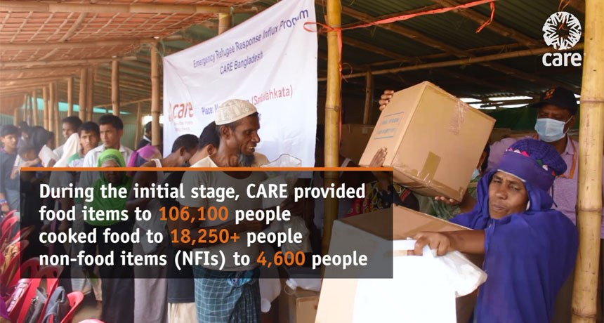 During the initial stage, CARE provided food and non-food items