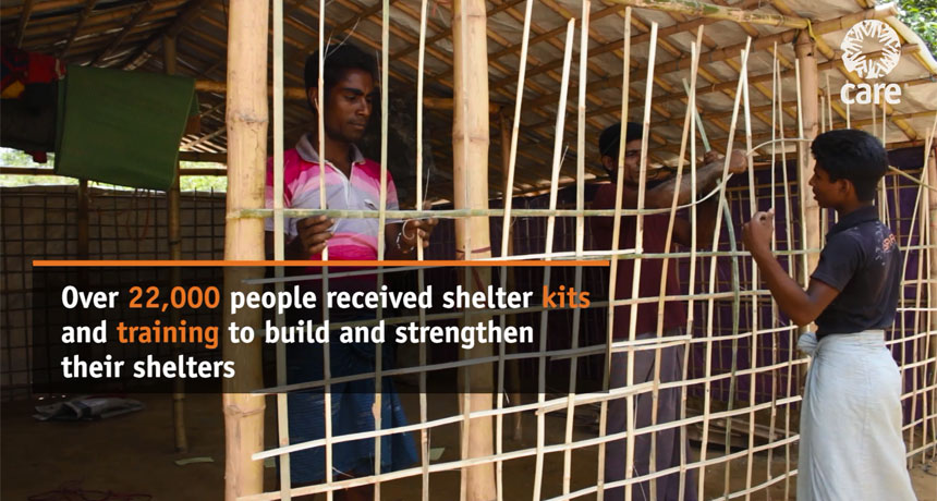 Over 22,000 people received shelter kits