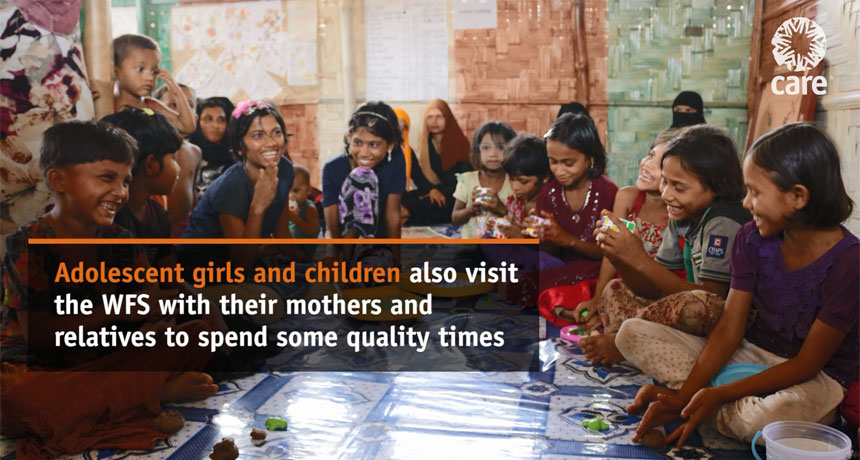 Adolescent girls and children also visit the women-friendly spaces