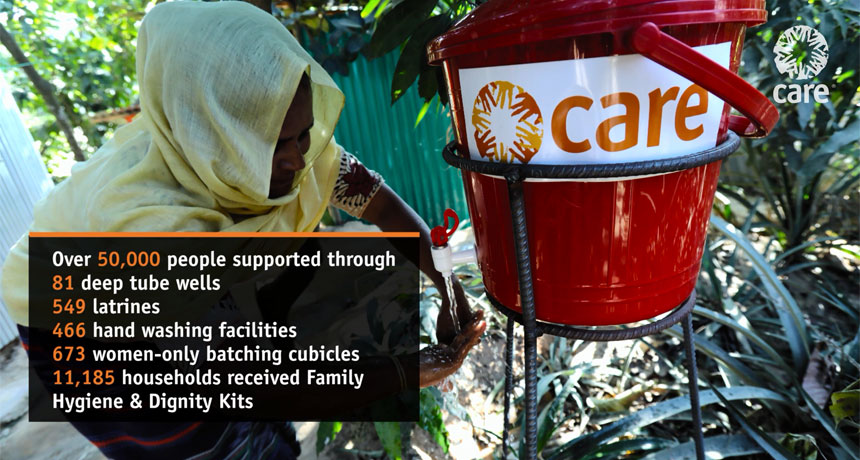 Details of WASH support provided to Myanmar refugees by CARE