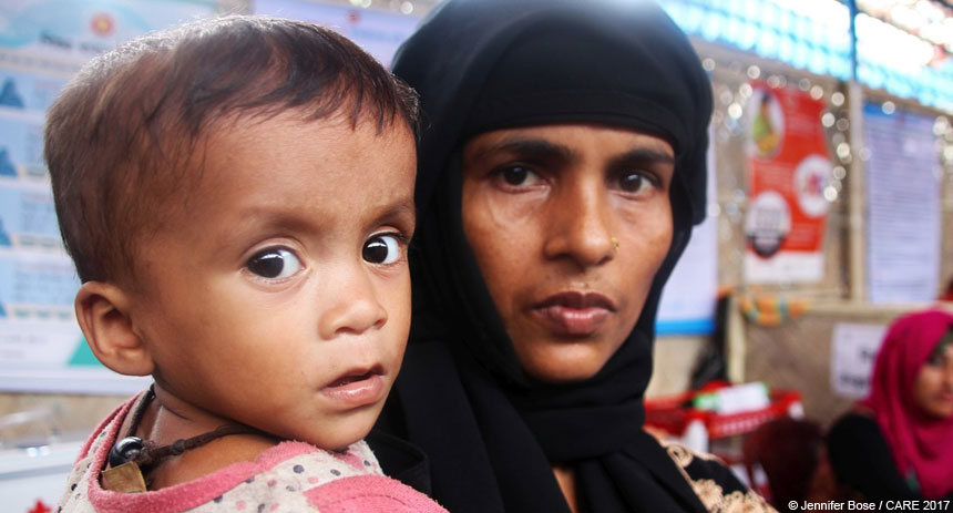 Woman and child at refugee camp in Bangladesh