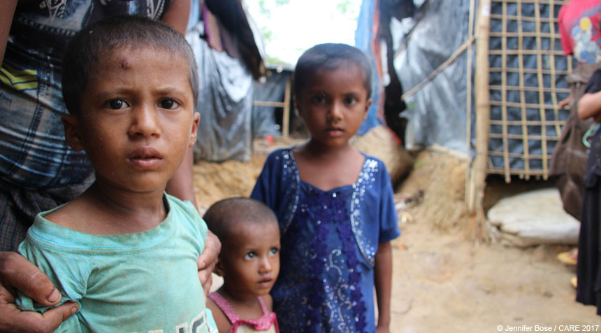 Three children at refugee camp in Bangladesh