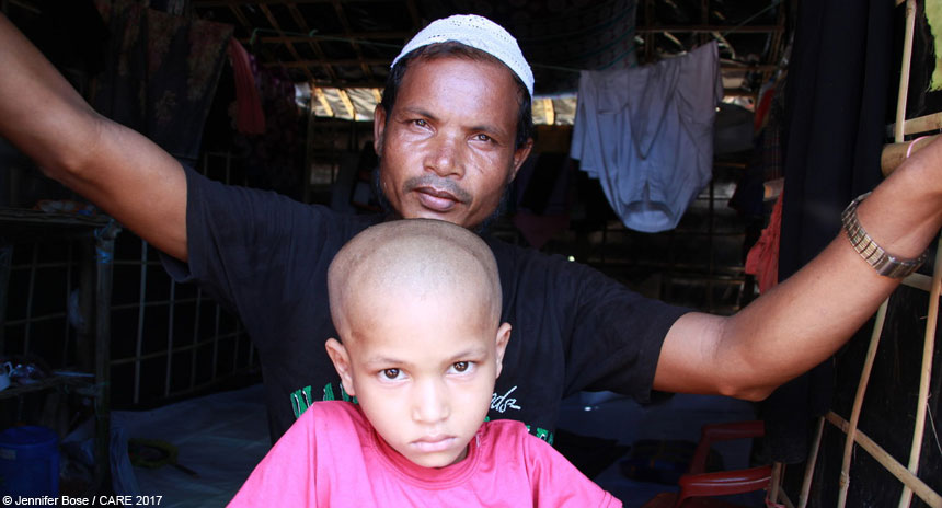 Man and his son at refugee camp in Bangladesh