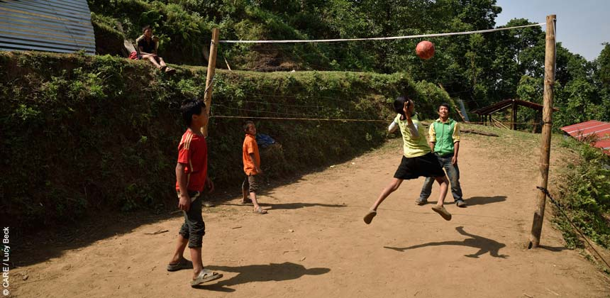 Children playing volleyball at Mandre village school