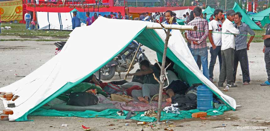 A tent at a temporary camp in Kathmandu