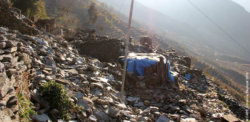 Village in ruins after earthquake